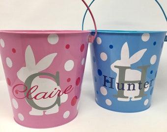 Personalized Large Metal Easter Basket, Custom Easter Basket, Metal Easter Basket, Metal Easter Bucket, Personalized Easter Bucket