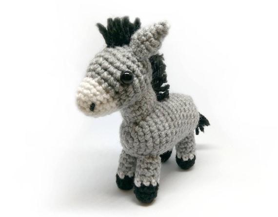 Häkeln Sie Amigurumi Süße Graue Maultier Pferd Esel Tier Etsy