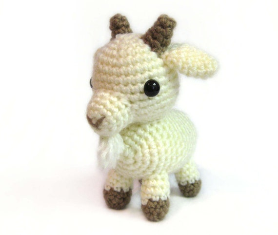 Crochet Amigurumi Cute White Billy Goat Stuffed Animal Plush Etsy