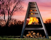 Pyro Monolith Metal Chiminea Vertical Fire Pit