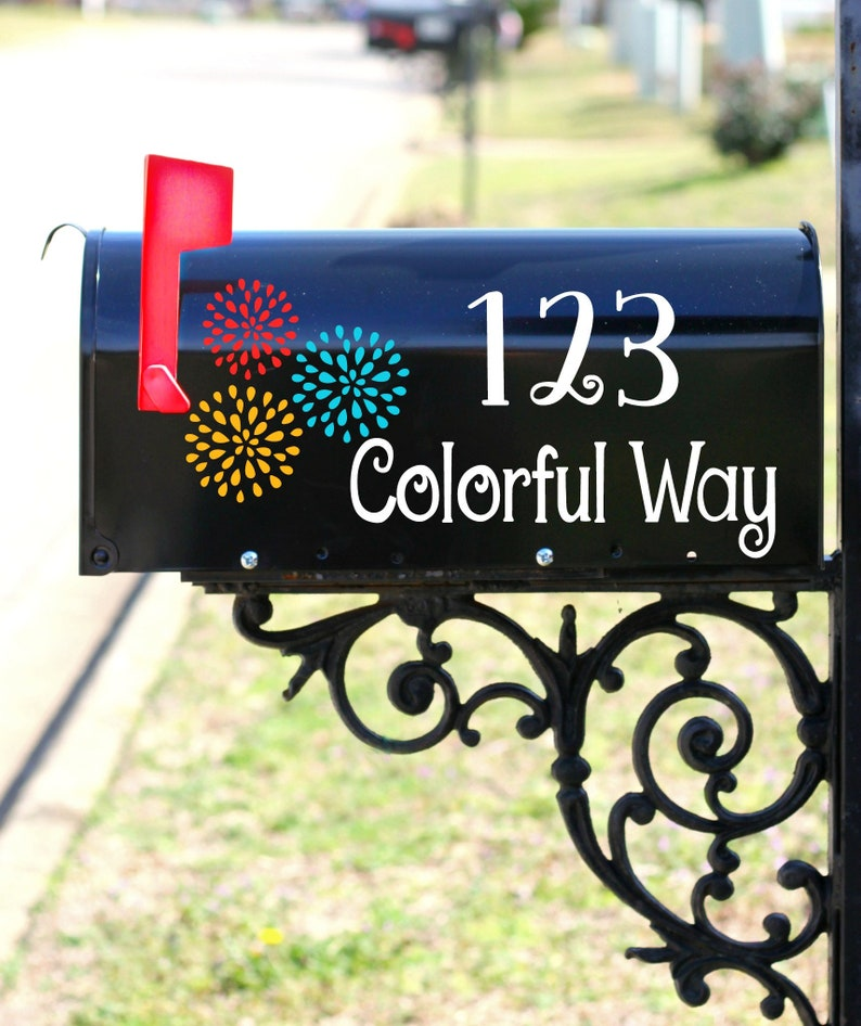 Colorful Postbox Stickers Letterbox Decor Outside Home Decals Exterior Mail Stickers Address Numbers Floral Mailbox Decal Number Decal