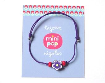 Bracelet adjustable flower on purple wire