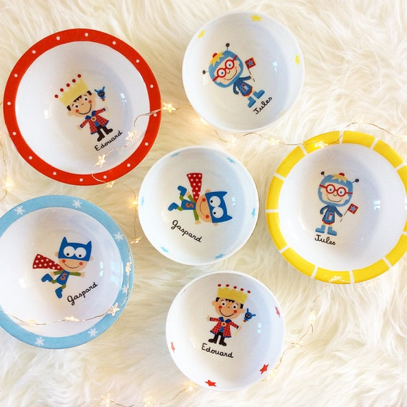 Small child Bowl personalized porcelain SUPER hero birthday gift