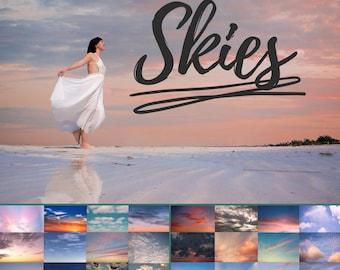 25 Sky Photo Overlays, clouds Photoshop, sunset, blue sky, dramatic sky, sky texture, clouds effect, realistic sky, Photography Overlays