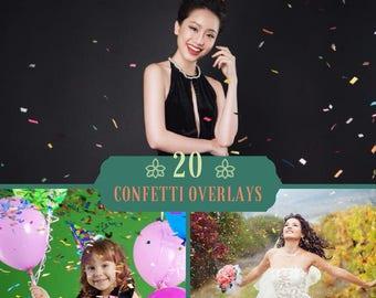 20 Confetti Overlays,Confetti Photoshop Overlays, Birthday Overlays, Photoshop Overlays, Wedding Overlay, Photo Effect, Digital Backdrop