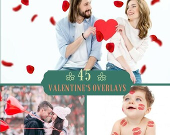45 Valentine's Day Overlays, Photoshop Overlay, Pack,Hearts Bokeh, Falling Roses overlays, Love, Bokeh Overlays, Wedding Digital backdrop