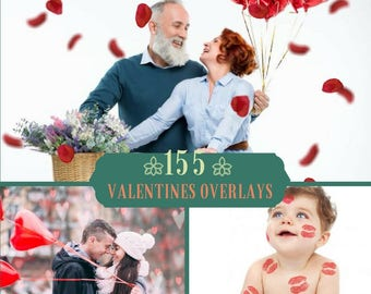 155 Valentine's Day Overlays, Photoshop Overlay, Pack,Hearts Bokeh, Falling Roses overlays, Digital backdrop, Love, Bokeh Overlays, Wedding