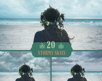 20 Stormy Sky Overlays, Dark Sky Overlays, Dramatic sky,  Thunder Lightning Sky, Clouds Storm Effects, Photoshop Overlay, Digital Backdrop