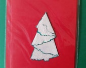 Christmas-card: handmade paper with print of pineapple