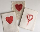 Valentine, handmade paper with red heart
