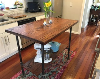 Solid Oak Modern Industrial Kitchen Island Table