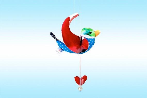 vogel h ngedekoration zimmerschmuck mit vogel blauer etsy. Black Bedroom Furniture Sets. Home Design Ideas