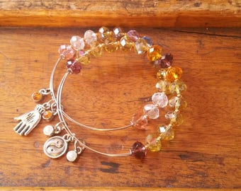 Girl tiny wrists cute stackable beaded bangles with tree of life charms, elephant, fairy, cat, butterfly, star
