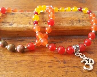 Women bracelet set, yoga bracelet, om charm, boat style, carnelian stone