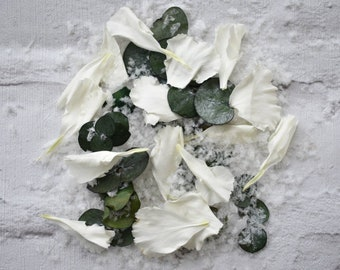 Biodegradable Winter Christmas Wedding Confetti Snowfetti White Carnations Eucalyptus