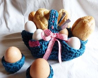 Rolls, basket, breakfast set, egg cup, crochet, Sunday breakfast, Osternkorb,, breakfasts, picnic, Easter