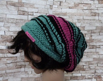 Sloutch, skater, beanie, knitted, striped, reflective, teen, vegan