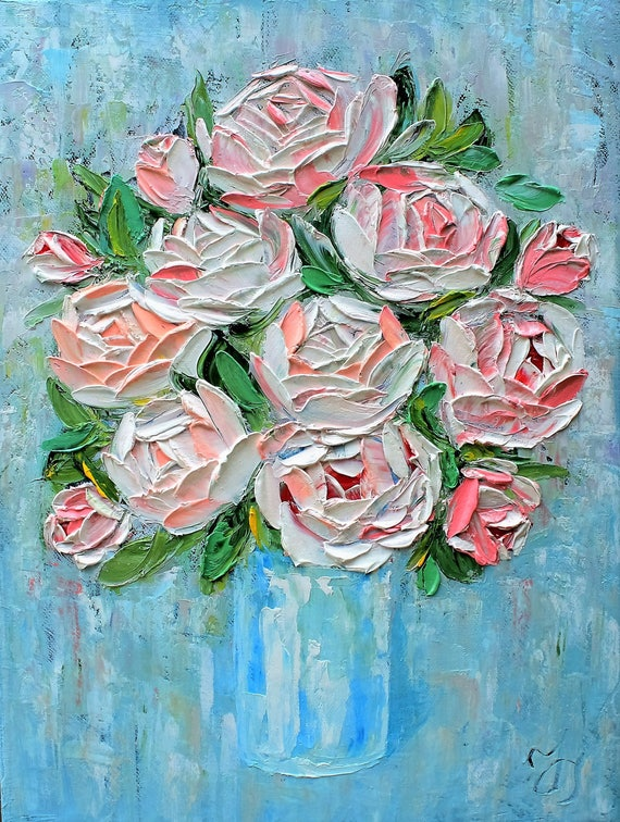 Roses Bouquet Original Oil Painting On Canvas Palette Knife Etsy