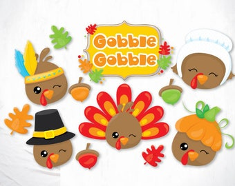 Gobble Gobble Turkies cutting files, svg, dxf, pdf, eps included - cut files for cricut and silhouette - Cutting Files SVG
