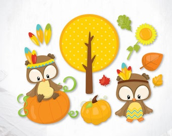 Thanksgiving owls cutting files svg, dxf, pdf, eps included - cut files for cricut and silhouette - Cutting Files SVG