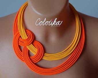 Neon orange necklace, necklace with node, orange necklace, knot necklace, knotted necklace, colourful necklace,bright necklace,bold necklace
