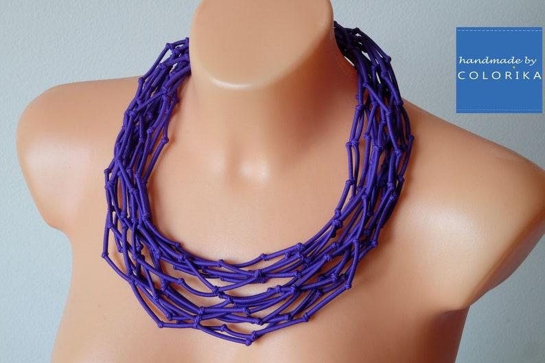 Purple necklace,Knot necklace,Tribal violet necklace Purple jewelry Multistrand violet necklace,Unique knotted necklace Violet jewelry