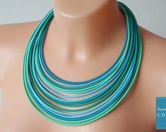 Turquoise necklace, Blue multistrand necklace , Blue layer necklace, Ropes mint necklace, Sea necklace, Blue statement necklace, bib