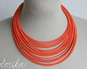 Tribal orange necklace, Multistrand necklace,Bib orange necklace,Statement ropes necklace, African style jewelry,Minimalist jewelry Colorika