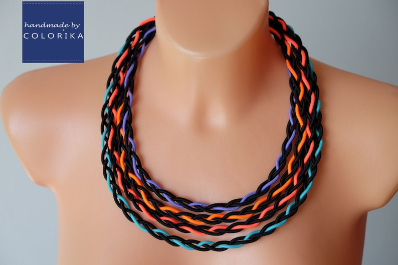 Colourful necklace Black bib necklace Rainbow necklace Tribal necklace Braided necklace Bold neon necklace Fabric necklace Colorika
