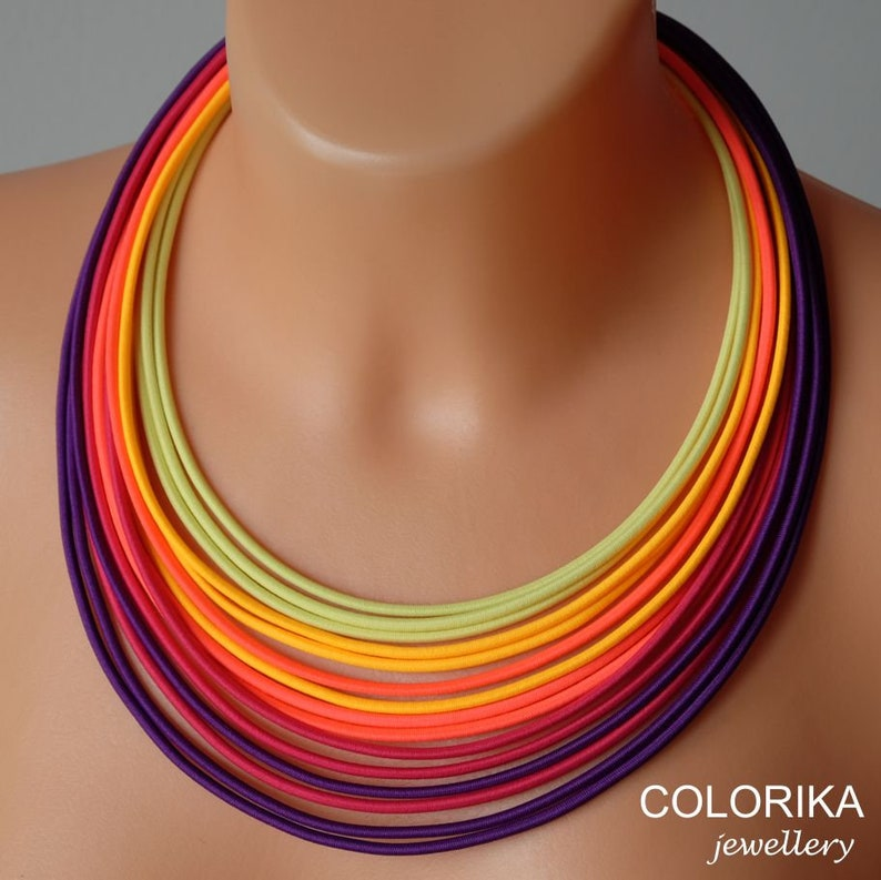 Boho necklace,Orange violet necklace,Bright necklace,Layered necklace,Fiber necklace Colorful necklace Summer necklace Colourful necklace