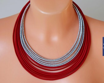 Red ropes necklace, Bold red necklace, Fabric necklace, Red fiber necklace, African necklace,Ethnic necklace,Red tribal necklace,Red jewelry