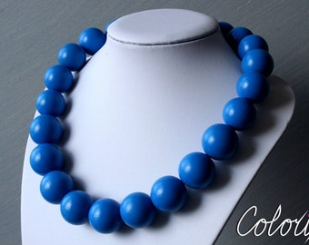 Blue beaded necklace, Statement beaded necklace, Chunky beads necklace, Beaded blue necklace, Wooden beads necklace, Wooden blue necklace