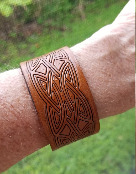 Celtic Embossed Leather Cuff Bracelet. Mens or womens. Unique design. adjustable. St. Patricks day. FREE SHIPPING