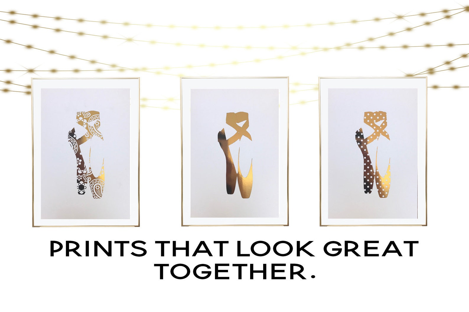 plain ballet shoe gold foil print