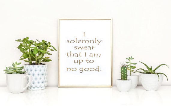 gold foil print i solemnly swear quote harry potter home