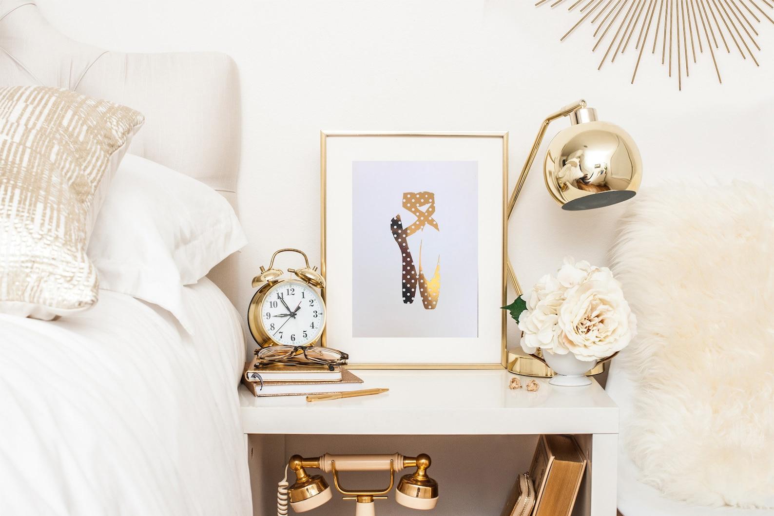spot ballet shoe gold foil print