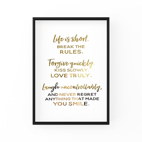 Gold Foil Print Life Is Short Quote Home Decor Modern Wall Etsy