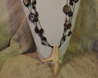Antler Jewelry - Antler Art - Horn Necklace - Huntress Necklace - AK Creations Designs - Real Deer Antler Necklace - Beaded Necklace
