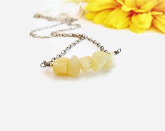 Yellow Crystals /& Stones Sterling Silver Intention Necklace Natural Gemstone Jewelry Yellow Jasper Choker Necklace Holistic Healing