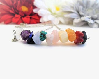7 Chakra Necklace, Rainbow Gemstone Choker, Witchy Things, LGBTQ Witch, Full Chakra Cleanse, Holistic Healing Jewelry, Crystals and Stones
