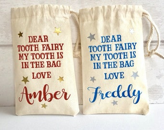 Personalised tooth fairy bag, tooth fairy pouch, tooth fairy sack, tooth fairy bag, tooth fairy keepsake, baby tooth bag, tooth fairy,
