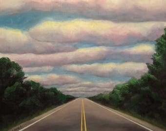 Anticipation, original, handmade, acrylic, painting, clouds, road, journey, art, highway, hopeful, grad gift, graduation