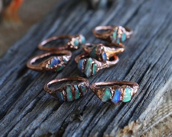 Triple Opal Rings || Raw Opal Rings || Lightning Ridge Opals || Australian Opals || Gift for her || Unique ring || Crystal Ring