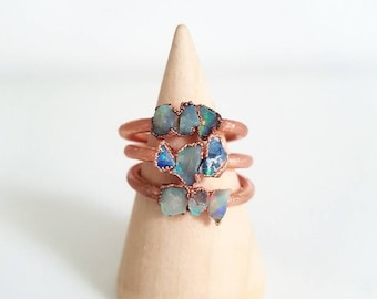Triple or Quadruple Opal Ring || Raw Opal Rings || Lightning Ridge Opals || Australian Opals || Gift for her || Unique ring || Crystal Ring