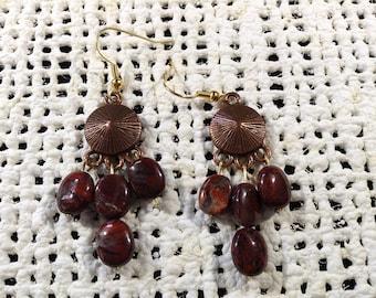 Poppy jasper copper earrings