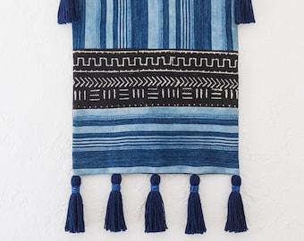 Black Mud Cloth Tapestry, Indigo Mud Cloth, African Mud Cloth Wall Hanging, Vintage Indigo, Geometric Wallhanging, African Tapestry