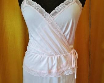 70s Pink Lace Slip Dress M
