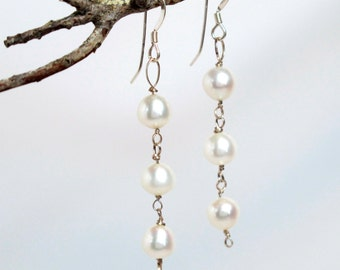 Triple Drop Petite Pearl & Sterling Earrings –Small White Lotus Pearls on Sterling Silver Wire with Sterling Silver Earwires