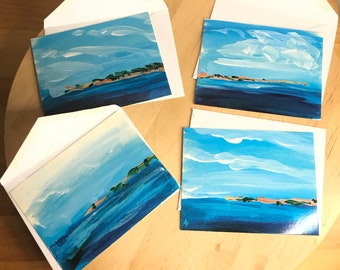 Imagined Isles - 12 Flat Note Cards with Envelopes