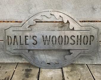 Vintage style Woodshop Sign Customizable Woodshop Signs WOODSHOP Carpenter 16 x 12inch Metal Sign. Personalized Woodshop Signs